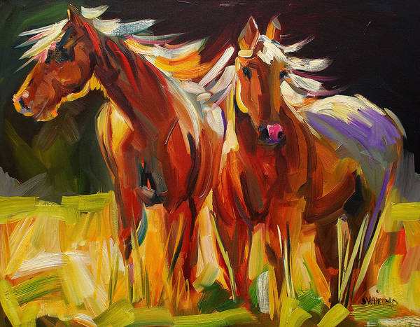 Painting Poster featuring the painting Two Horse Town by Diane Whitehead