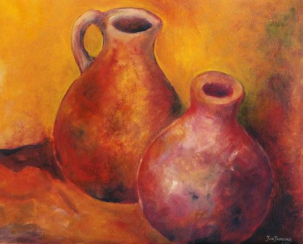 Oil Poster featuring the painting Two Jars by Jun Jamosmos