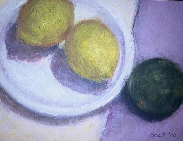 Still Life Poster featuring the painting Two Lemons With Lime by Dolores Holt