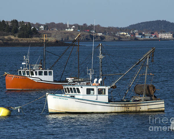 Lobster Poster featuring the photograph Two Lobster Boats by Alana Ranney