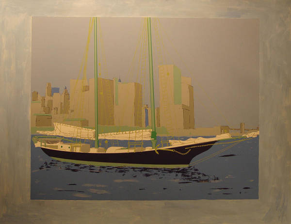 Poster featuring the painting Two masts colored by Biagio Civale