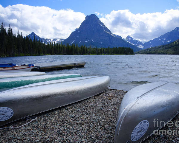 Canoes Poster featuring the photograph Two Medicine Lake by Idaho Scenic Images Linda Lantzy