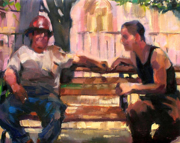 Men Poster featuring the painting Two Men On A Bench by Merle Keller