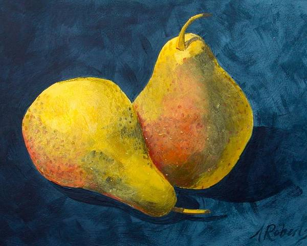 Pear Poster featuring the painting Two Pears by Anna Roberts