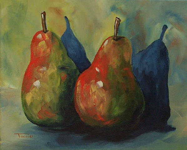 Pear Poster featuring the painting Two Pears by Torrie Smiley