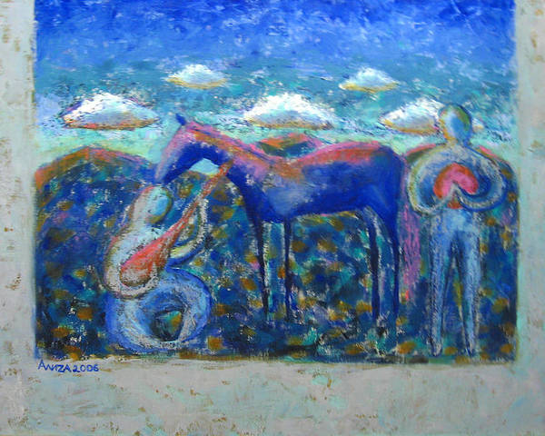 Horse Poster featuring the painting Two Spirits by Aliza Souleyeva-Alexander