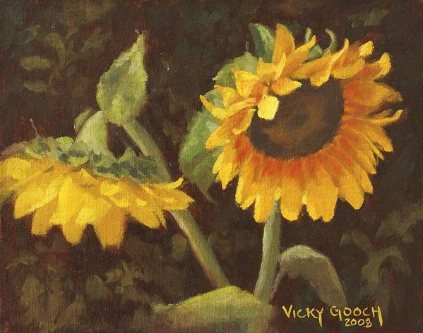 Floral Poster featuring the painting Two Sunflowers by Vicky Gooch