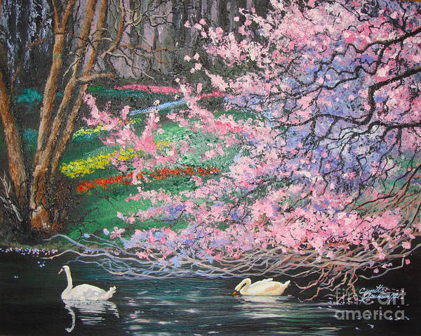 Swans Poster featuring the painting Two Swans by Cynthia Sorensen