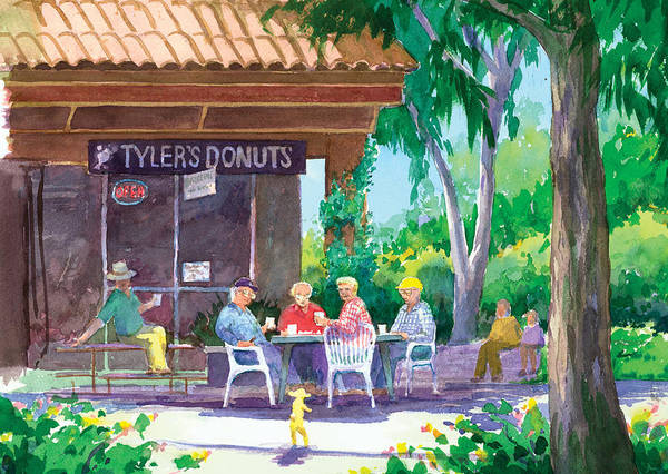 Old Men Poster featuring the painting Tylers Donuts by Ray Cole