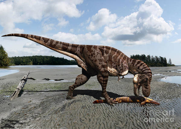Dinosaur Poster featuring the digital art Tyrannosaurus enjoying seafood by Julius Csotonyi
