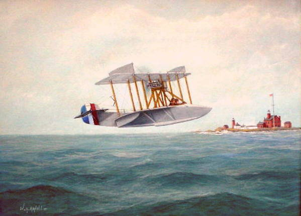 Airplane Poster featuring the painting U. S. Coast Guard - Curtiss Flying Boat by William H RaVell III