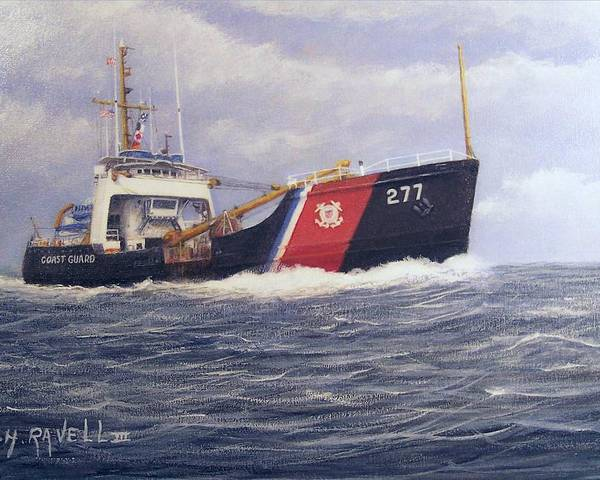 Seascape Poster featuring the painting U. S. Coast Guard Buoy Tender by William H RaVell III