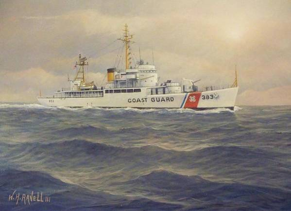 U. S. Coast Guard Cutter Castle Rock Poster featuring the painting U. S. Coast Guard Cutter Castle Rock - version 2 by William Ravell