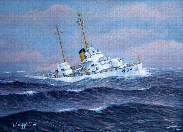 Marine Art Poster featuring the painting U. S. Coast Guard Cutter Owasco by William H RaVell III