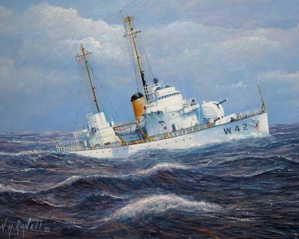 Marine Art Poster featuring the painting U. S. Coast Guard Cutter Sebago Takes A Roll by William H RaVell III