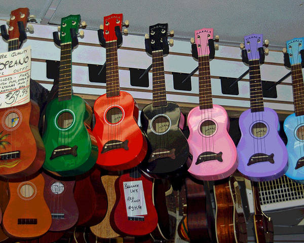 Ukelele Poster featuring the photograph Ukeleles For Sale by Suzanne Gaff