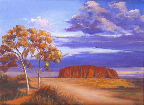 Landscape Poster featuring the painting Uluru - Ayers Rock by Robynne Hardison