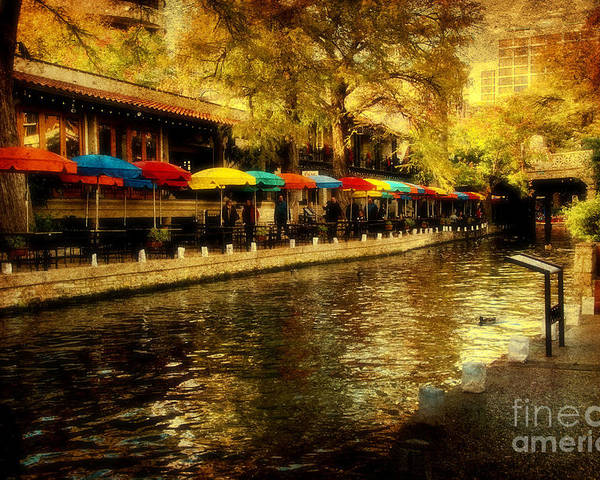 Riverwalk Poster featuring the photograph Umbrellas In The Riverwalk by Iris Greenwell