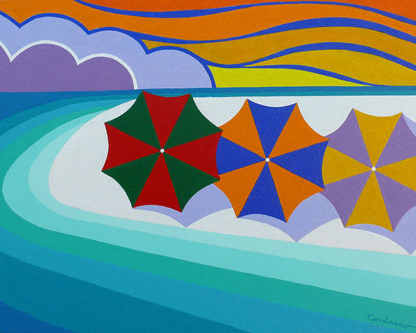 Beach Poster featuring the painting Umbrellas On The Beach by James Cordasco
