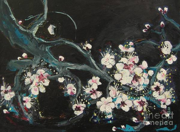 Ume Blossoms Paintings Poster featuring the painting Ume Blossoms2 by Seon-Jeong Kim