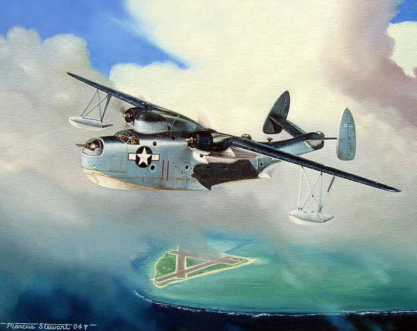 Military Poster featuring the painting Uncle Bubba's Flying Boat by Marc Stewart