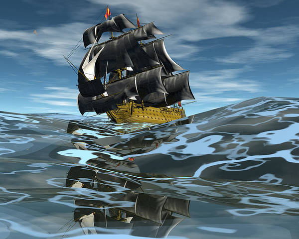 Bryce 3d Fantasy  Seas Seascape tall Ships Windjammer Poster featuring the digital art Under Full Sail by Claude McCoy