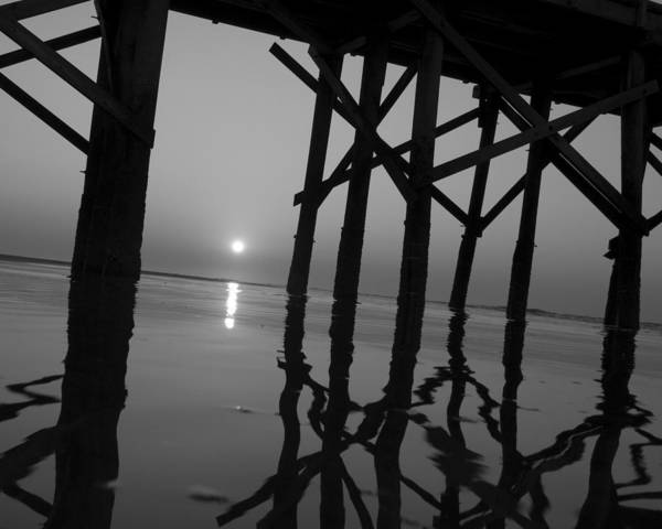 Art Poster featuring the photograph Under The Boardwalk Bw1 by Tom Rickborn