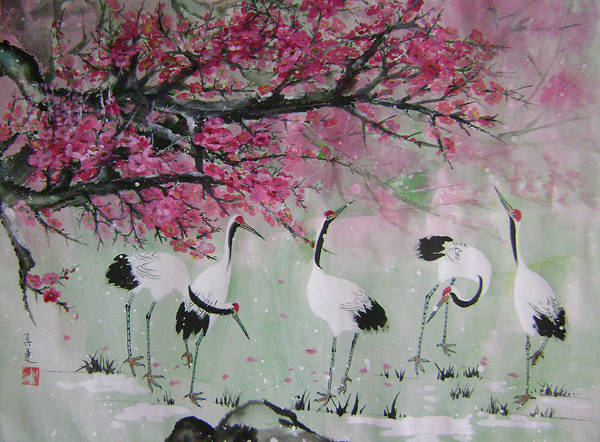 Birds Poster featuring the painting Under The Snow Plums 2 by Lian Zhen