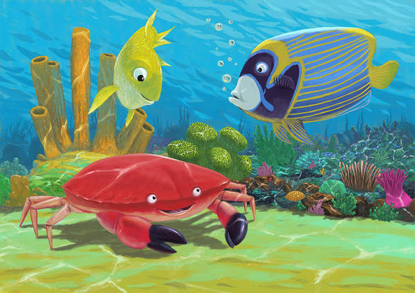 Ocean Poster featuring the painting Underwater Sea Friends by Martin Davey