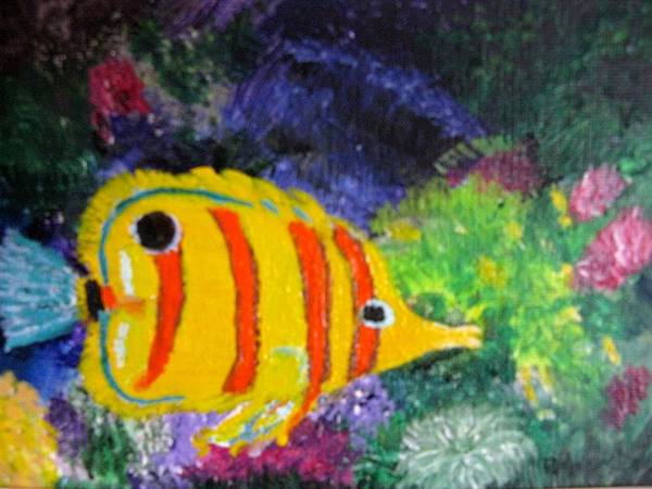 Underwater Poster featuring the painting Underwater World by Becky Giovine