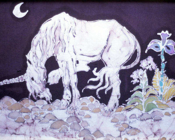 Unicorn Poster featuring the tapestry - textile Unicorn Pauses by Carol Law Conklin