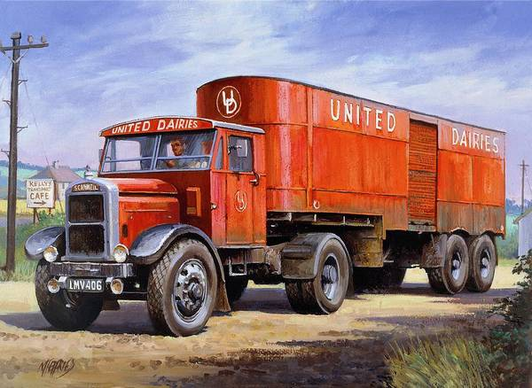 Scammell Poster featuring the painting United Dairies Scammell. by Mike Jeffries