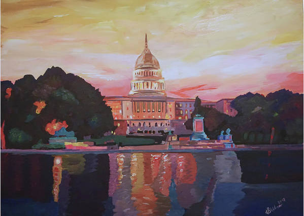 Washington Dc Poster featuring the painting United States Capitol In Washington D.c. At Sunset by M Bleichner