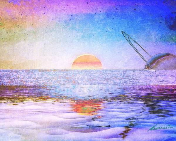 Surf The Future Poster featuring the digital art Universal Sunset by Justus Herrmann