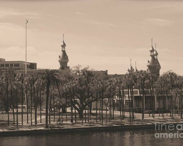 Tampa Poster featuring the photograph University Of Tampa With Old World Framing by Carol Groenen
