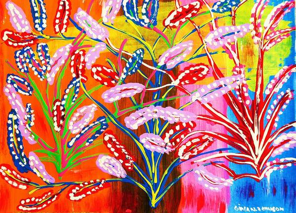 Unknown Flowers Poster featuring the painting Unknown Flowers by Gina Nicolae Johnson