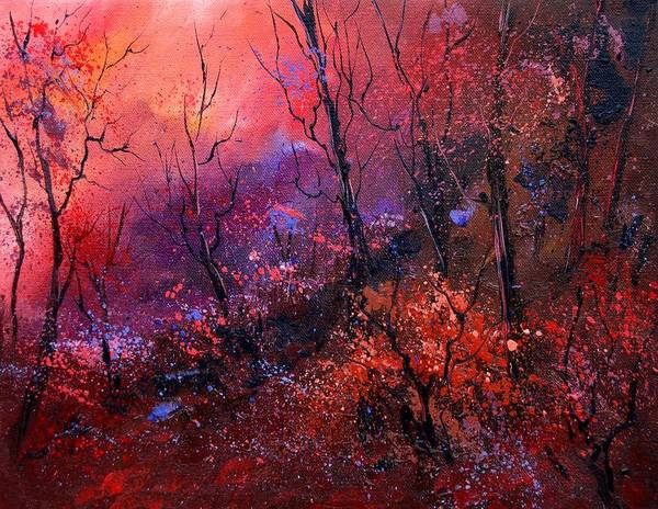 Wood Sunset Tree Poster featuring the painting Unset In The Wood by Pol Ledent