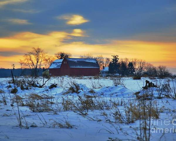 Michigan Farm Winter Cold Morning Related Tags: Barns Artwork Poster featuring the photograph Until Spring by Robert Pearson