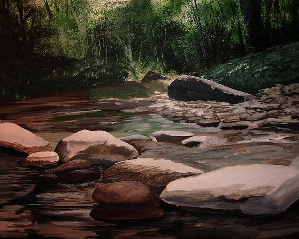 River Poster featuring the painting Up Stream by Martin Williams