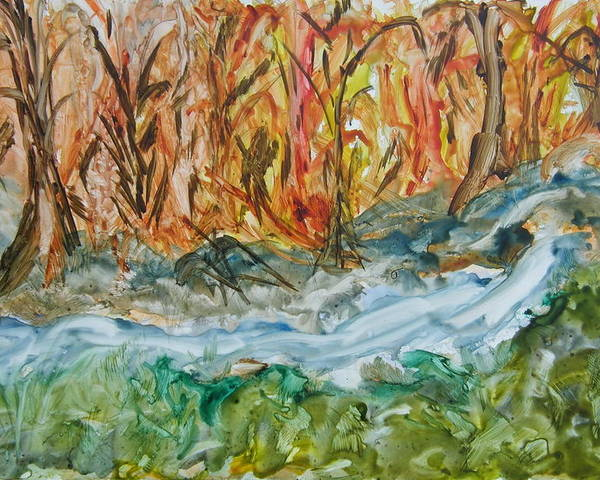 Water Poster featuring the painting Up The Creek by Margaret G Calenda