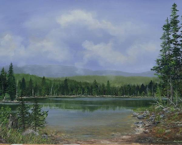 Lake Poster featuring the painting Upland Lake by Ken Ahlering