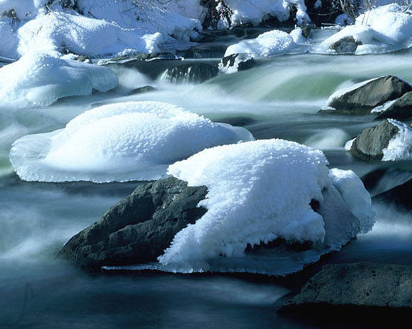 Upper Provo River Poster featuring the photograph Upper Provo River in Winter by Dennis Hammer