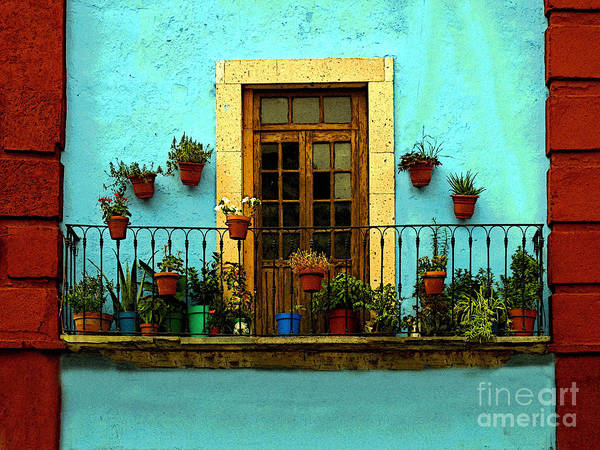 Darian Day Poster featuring the photograph Upper Window In Turqoise by Mexicolors Art Photography