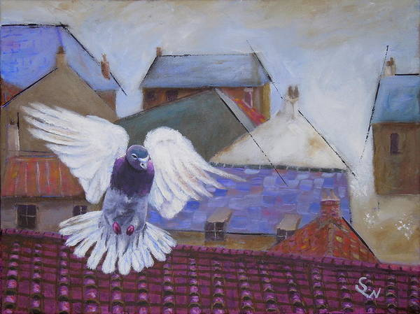 Art Poster featuring the painting Urban Pigeon by Shirley Wellstead