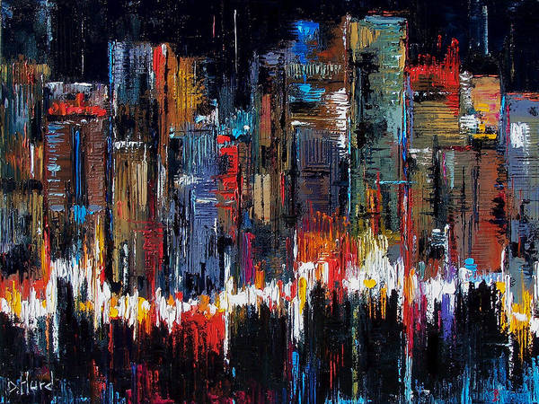 Abstract Poster featuring the painting Urban Pulse by Debra Hurd