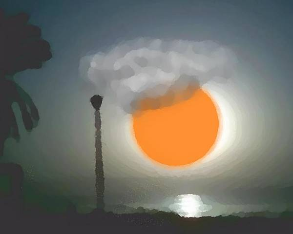 Urban.sea.sunset.sky.sun.water Sun Reflection.coast. Poster featuring the digital art Urban Sea Sunset by Dr Loifer Vladimir