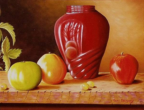 Still Life Poster featuring the painting Urn An Apple by Gene Gregory