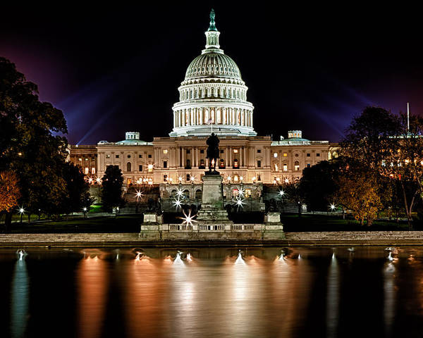 Washington Poster featuring the photograph Us Capitol Building And Reflecting Pool At Fall Night 3 by Val Black Russian Tourchin