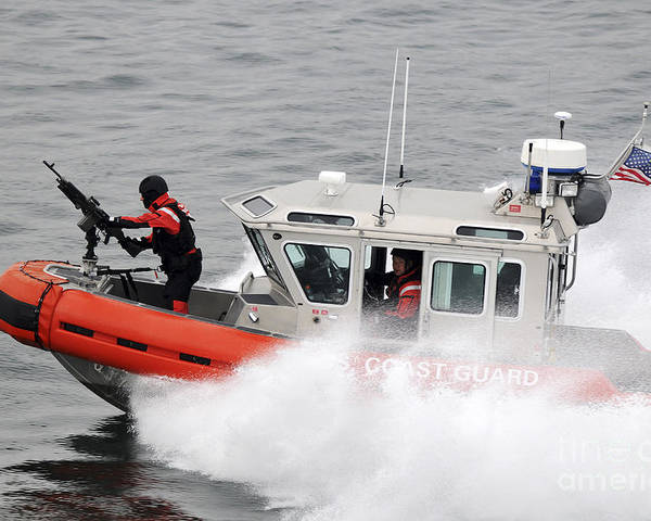 Patrol Poster featuring the photograph U.s. Coast Guardsmen Aboard A Security by Stocktrek Images