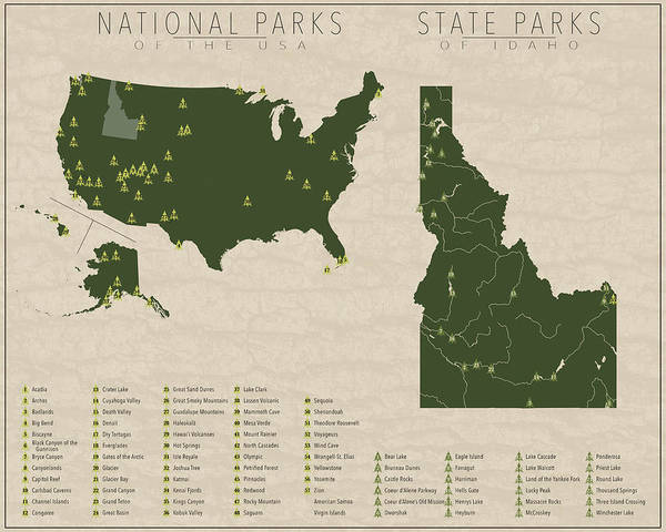 Idaho Poster featuring the digital art Us National Parks - Idaho by Finlay McNevin